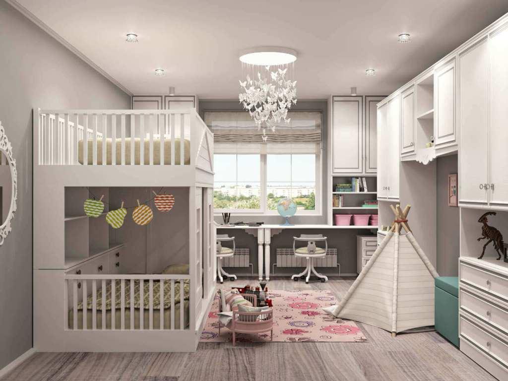 детская комната для мальчика и девочки в светлых тонах