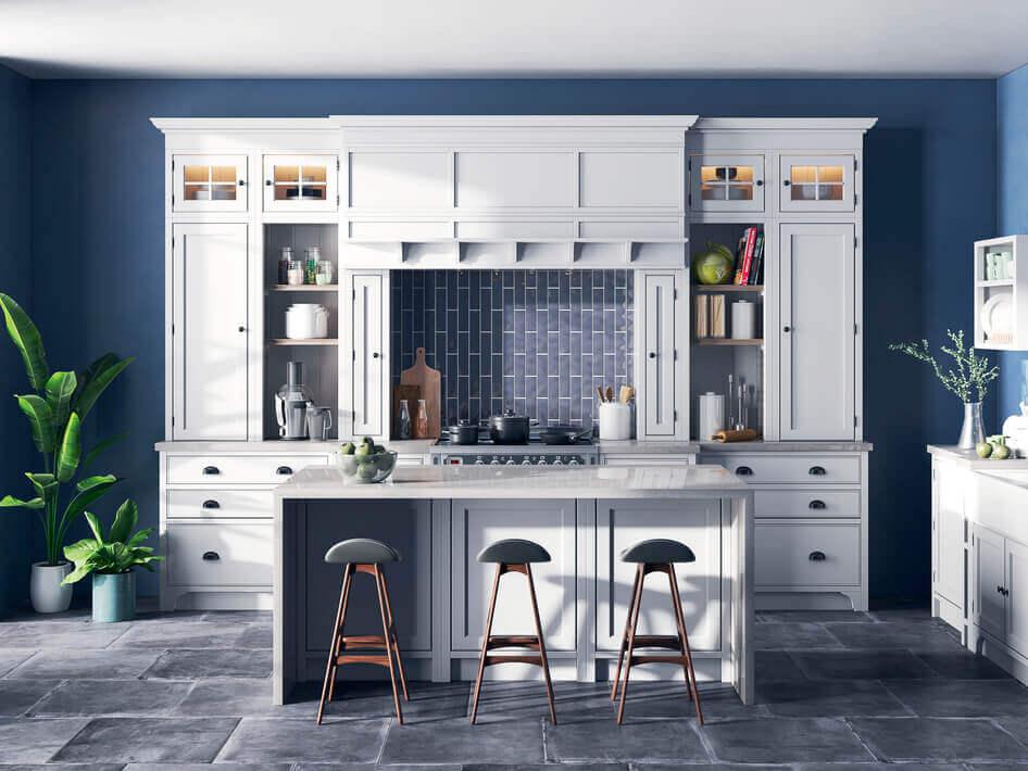 кухня в классическом стиле с отдельной барной стойкой