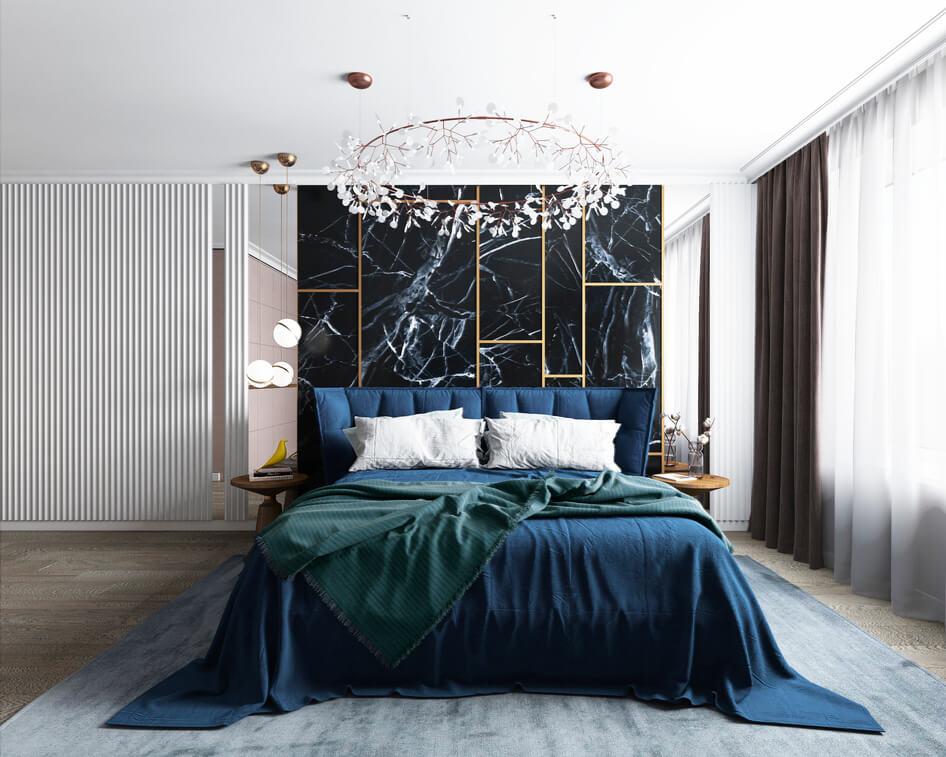 спальня в стиле арт деко с обилием натуральных фактур
