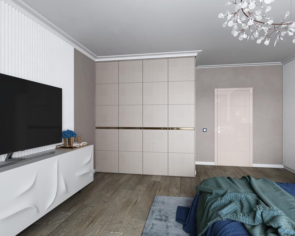 спальня в стиле арт деко с изысканным комодом с рельефными фасадами и бежевым распашным шкафом