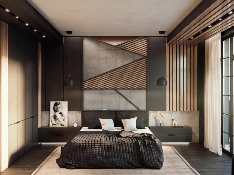 спальня в стиле лофт с применением массива дерева и эмали в серых оттенках