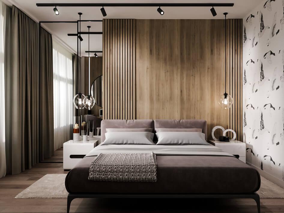 спальня в современном стиле с обилием древесной белой эмали