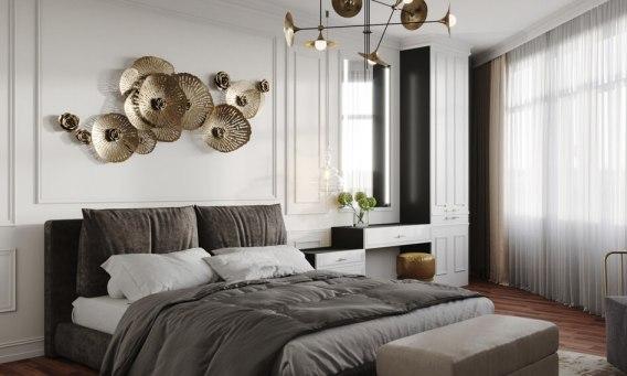 спальня в стиле арт деко с классическими фасадами