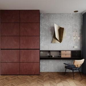 мебель в спальню с применением премиальных материалов распашной шкаф и навесная тумба