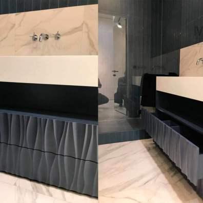 тумба в ванную с оригинальными 3д фасадами, покрытие эмаль