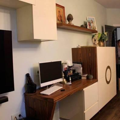 Тумба в гостиную в эмали глянец, шпон палисандра, латунь.