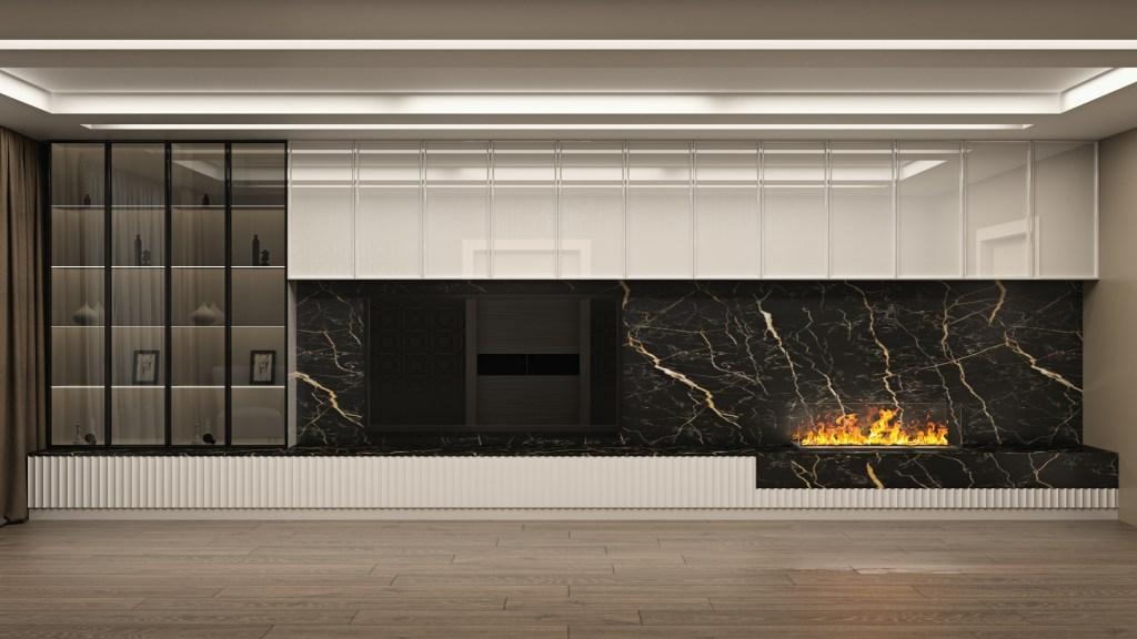 Дизайнерская большая гостиная в эмали с витринами и фрезерованными фасадами гостиная