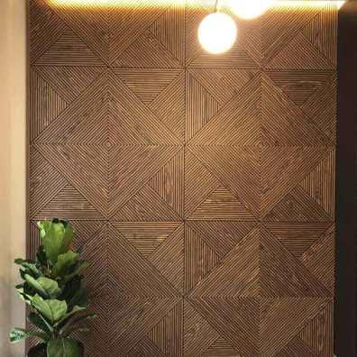 Фрезерованные стеновые панели с шпоном ореха