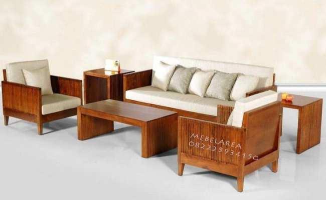 Furniture Set Kursi Tamu Kayu Jati Solid Terbaru