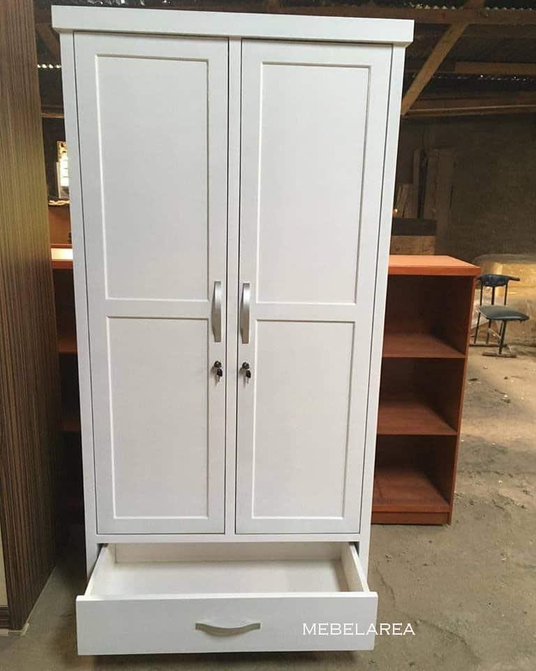 Terbaru Lemari Pakaian Minimalis 2 Pintu Kayu Mahoni