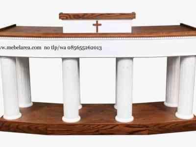 Mimbar Gereja Katolik Warna Duco Putih Kayu Jati Mahoni Solid