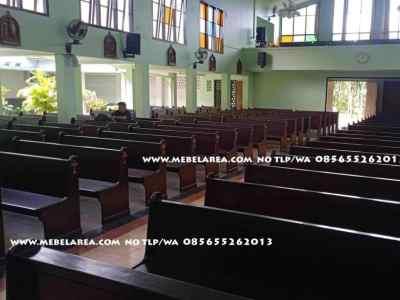 Bangku gereja kayu jati minimalis model terbaru
