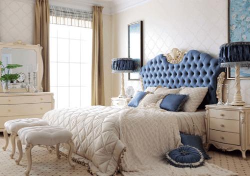 Кровать 1.8 м (шёлк синий)