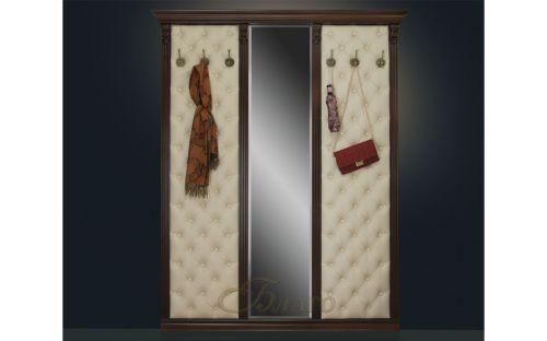 Вешалка с 6 крючками и зеркалом Б5.10-6 Орех/Бежевый