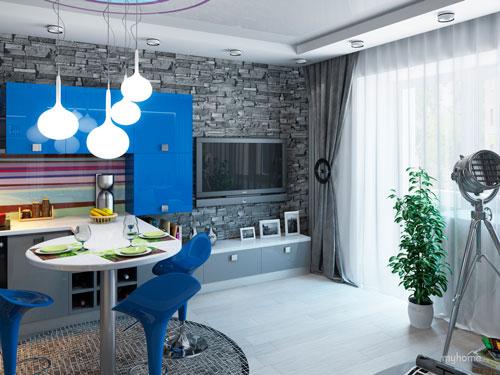 Сочетание яркого цвета с серым расширит возможности для создания уютной кухни