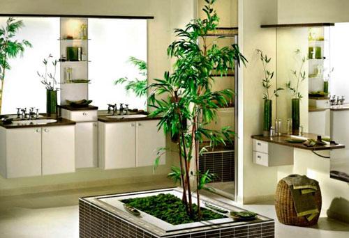 Растительность в ванной - явление необычное, но это идеально подходит к этно стилю
