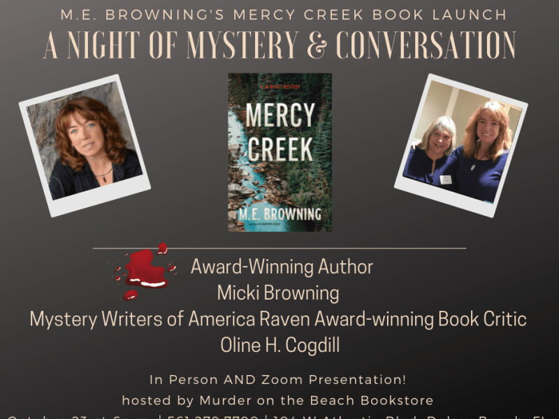 Invitation to share the Mercy Creek Book Launch event on October 26 at Murder on the Beach