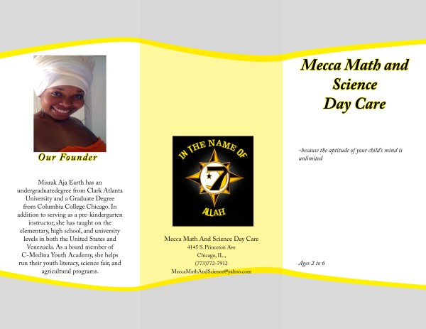 Mecca Math And Science Day Care Brochure