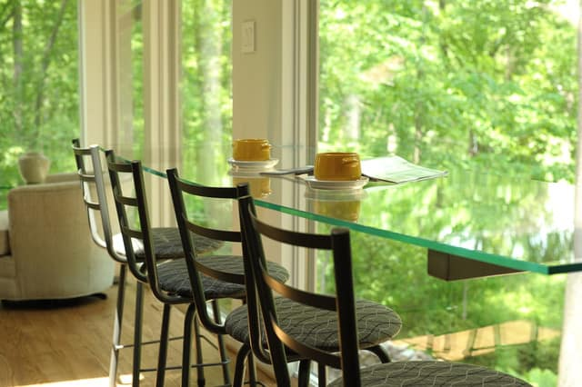 enjoy the view from a window seat at the breakfast bar