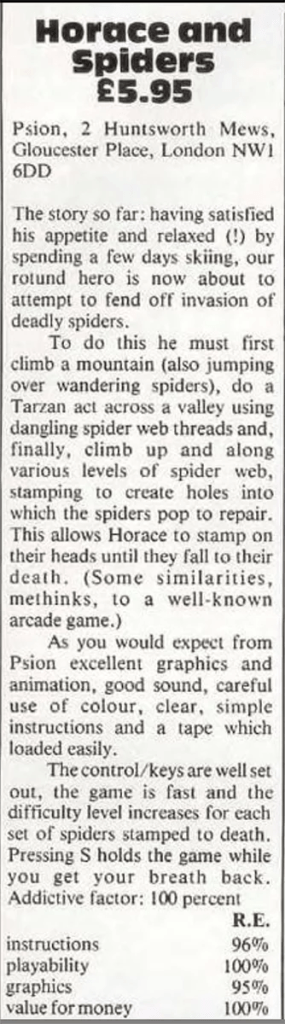 Home Computing Weekly review of Horace and the Spiders