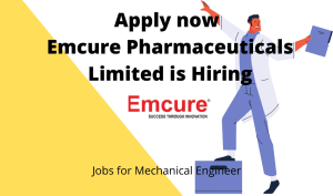 Emcure Pharmaceuticals is Hiring | Lead Boiler Operator | BTech/ BE in Mechanical, Chemical |