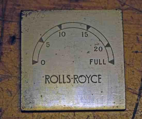 Single printing plate for Rolls Royce car clocks