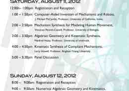 Workshop Schedule: 21st Century Kinematics