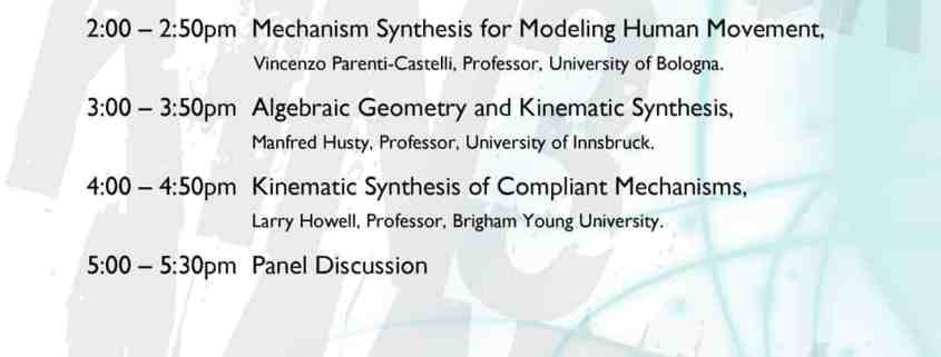 Workshop Schedule: 21st Century Kinematics