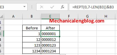 excel-Using REPT and LEN command