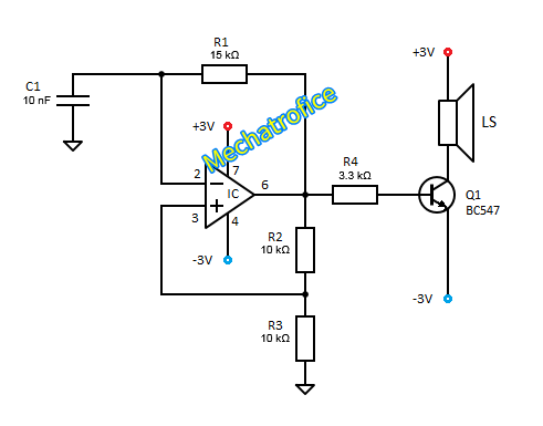 Audio Tone generator circuit using 555, 741 IC