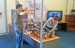 setting up the micro-robotics display