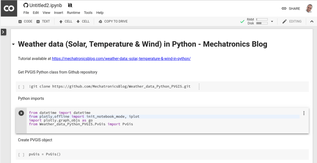Colab weather data