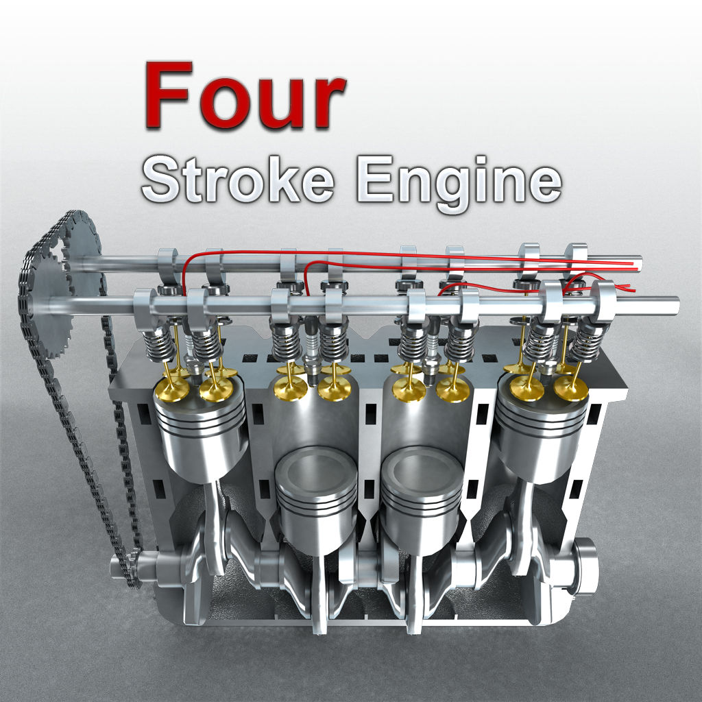 hight resolution of working of 4 stroke engine with animation