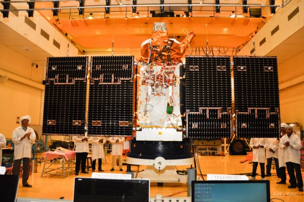 Scientists & engineers testing the panel of Cartosat-2 series satellite