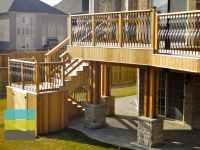 2 level cedar deck with wrought iron railings, pergola and ...