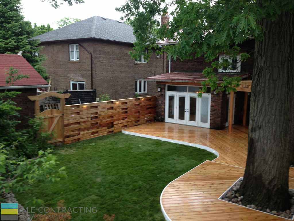 Cedar Deck With Pergola Gate And Horizontal Fence M E