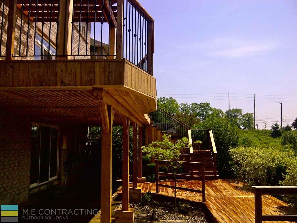 Cedar Deck With Pergola And Interlock Basement Walkout M