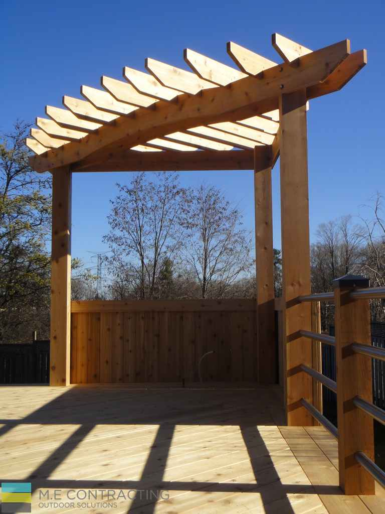 Deck With Pergola And Stainless Steel Railings M E