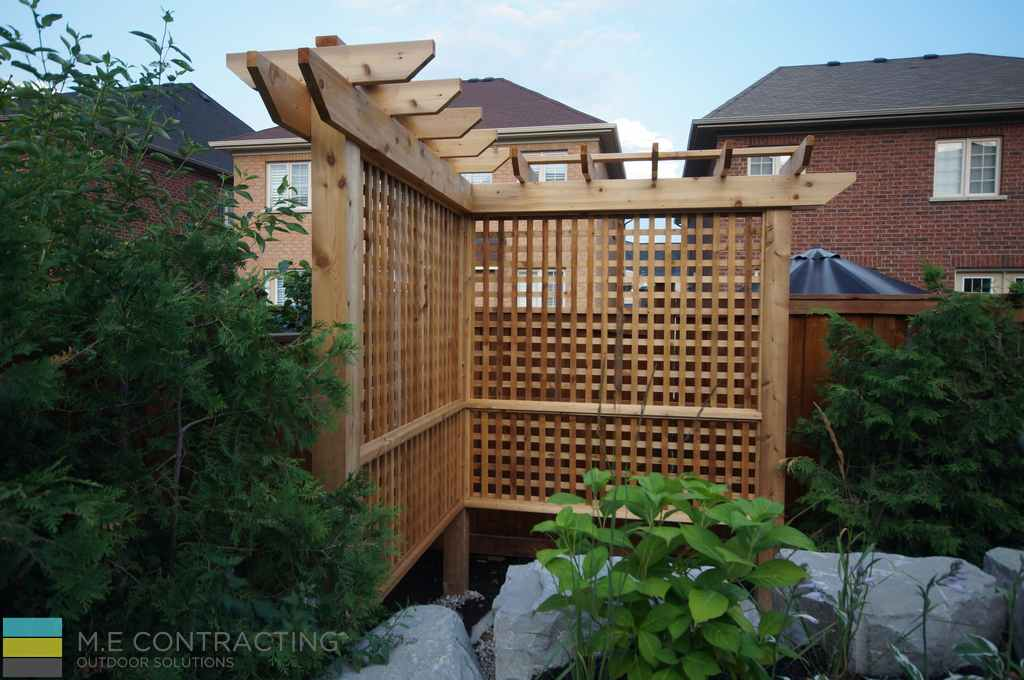 Flagstone Pool Deck With Pergola Driveway And Deck M E