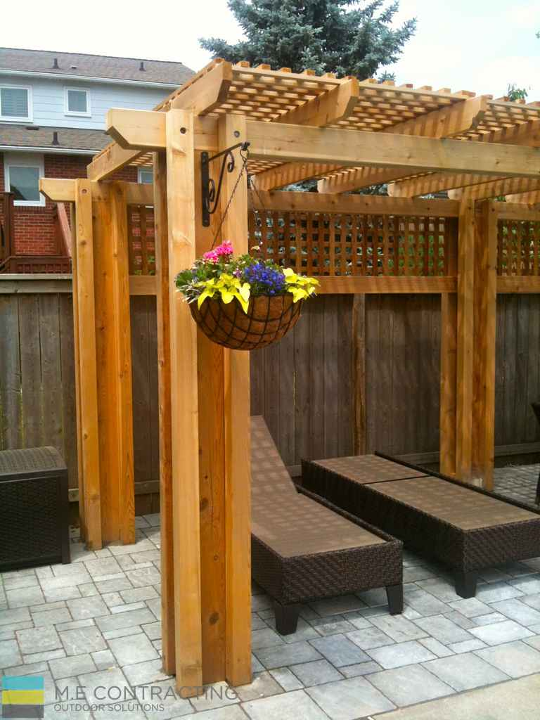 Interlocking Pool Deck Cedar Pergola M E Contracting