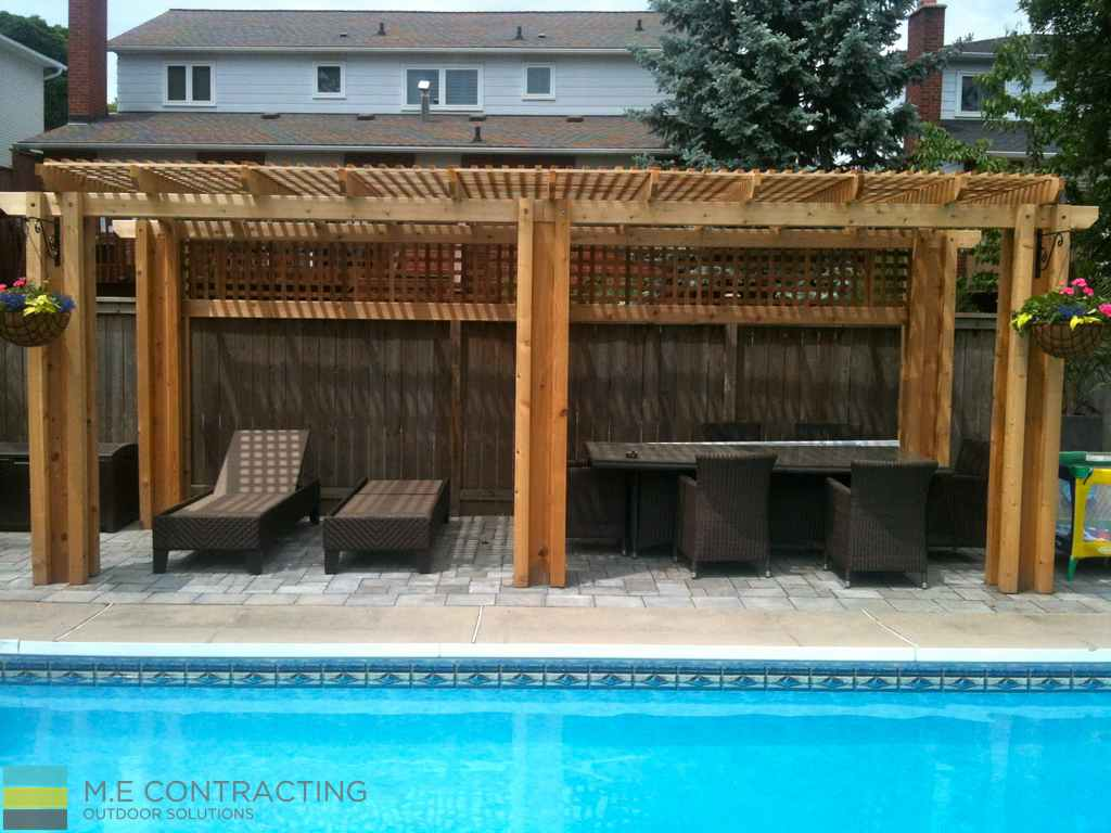 interlocking pool deck cedar pergola  ME Contracting  Toronto Landscaping Design Decking