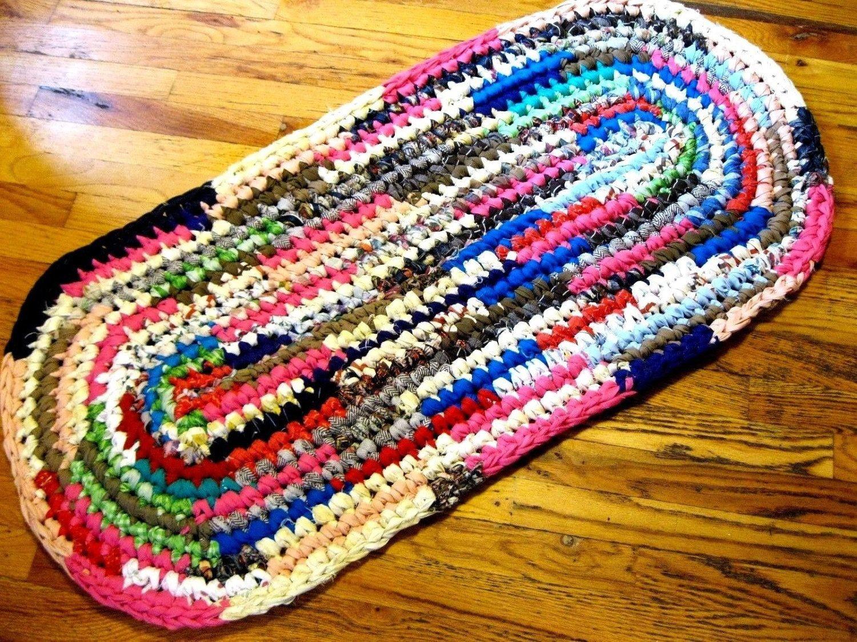 3 Motifs of Easy Crochet Oval Rug Pattern Rag Rug Oval Runner Handmade Crochet Accent Rug Shab Floor Decor