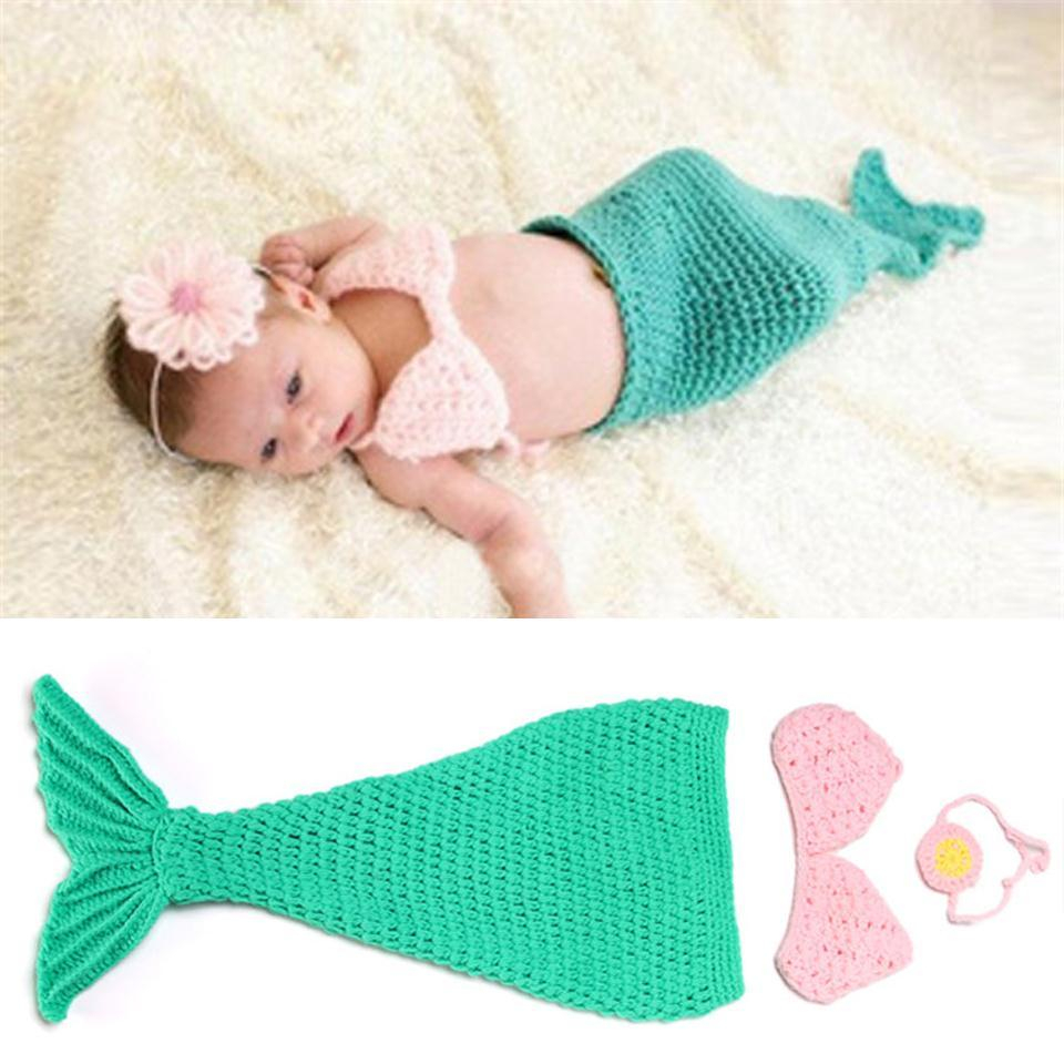 Amazing Crochet Mermaid Pattern for Baby's Mermaid Tail 2019 Crochet Green Mermaid Ba Girls Photography Props Infant Girl