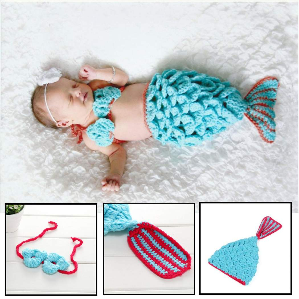Amazing Crochet Mermaid Pattern for Baby's Mermaid Tail Presyo Ng Blue Mermaid Knitted Outfit For Ba Ba Knitted