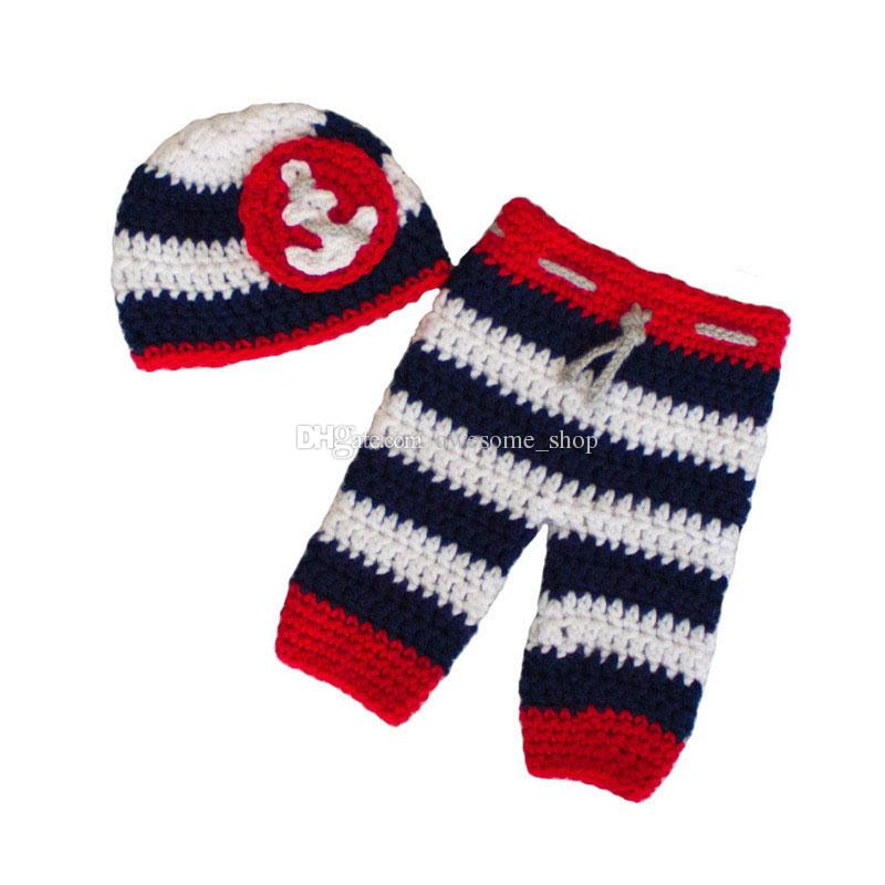 Crochet Baby Pants Pattern  2019 Newborn Nautical Sailor Costumehandmade Knit Crochet Ba Boy