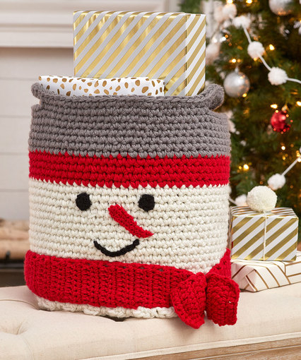Crochet Pattern For Snowman Crochet Snowman Basket Red Heart