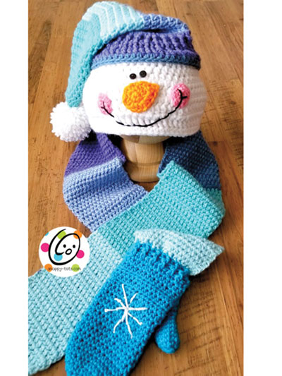 Crochet Pattern For Snowman Snappy Hooded Snowman Scarf With Mittens Crochet Pattern