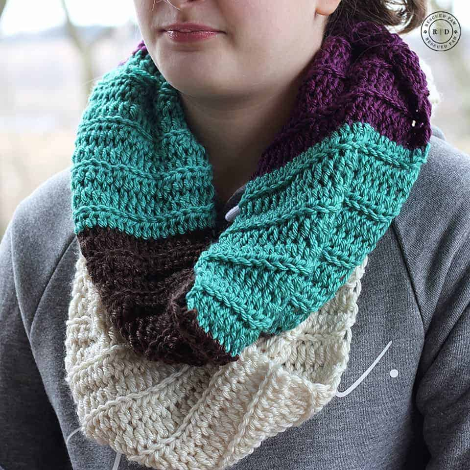 Free Infinity Scarf Crochet Pattern  Color Blocked Infinity Scarf Free Crochet Pattern Rescued Paw Designs
