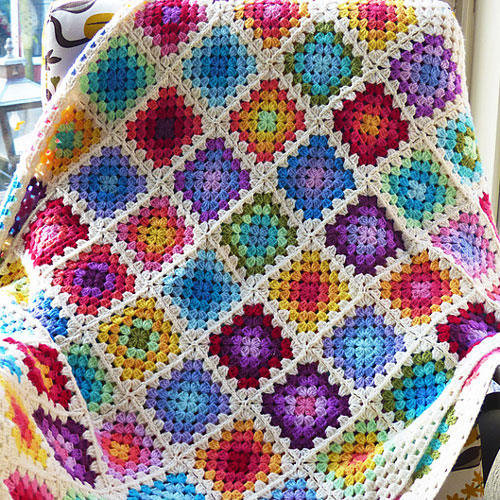 How To Make A Crochet Pattern Granny Square Blanket In Colourful Rainbow Pattern Haakmaarraak