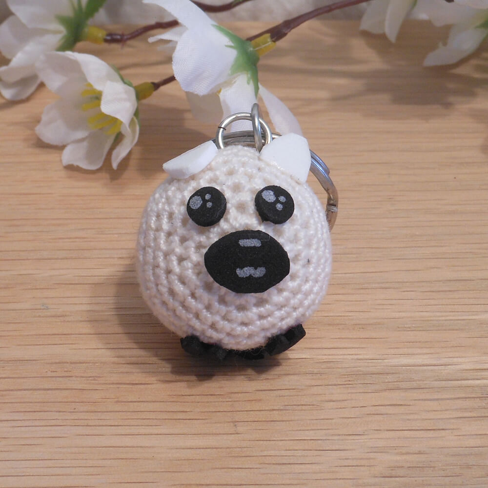 The Sweetest Crochet Lamb Patterns for Free White Sheep Amigurumi Keychain Sweet Sheep Brianadragon Creations